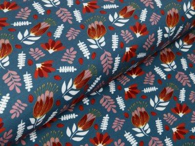 Sweat French Terry Swafing Lucy by Jolijou - Herbstblätter - indigoblau