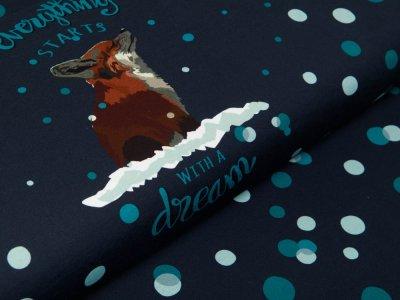Sweat French Terry Swafing PANEL ca. 95 cm x 160 cm Dreamer by Bienvenido Colorido - verschneiter Fuchs - nachtblau