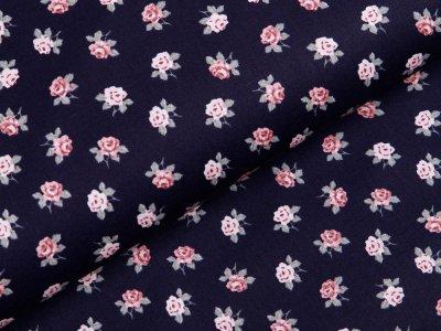 Webware Baumwolle Popeline - romantische Blumen - nachtblau
