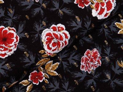 Webware Viskose mit Glitzer - Blumen und Blätter - schwarz