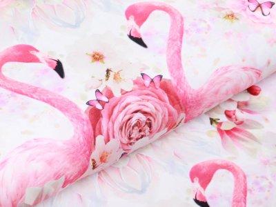 Jersey Digitalprint Stenzo PANEL ca. 100 cmx 150 cm - DIY my Circle Skirt mit Flamingos - weiß