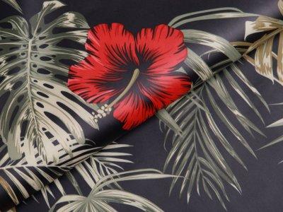 Leichter Jackenstoff - Hibiskus Blüten - anthrazit