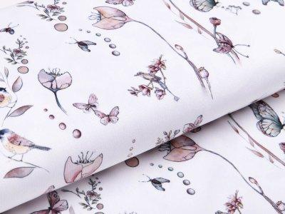 Struktur - Velvet - Schmetterlinge und Vögel - weiß