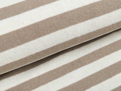 angerauter elastischer Strickstoff Swafing Lenn - Streifen - naturweiß/ beige