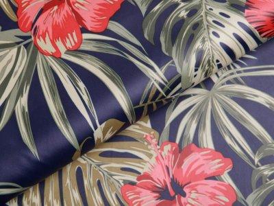Leichter Jackenstoff - Hibiskus Blüten - dunkles blau