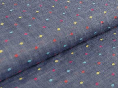 Webware Baumwolle by Little Darling - Punkte - blau/ bunt