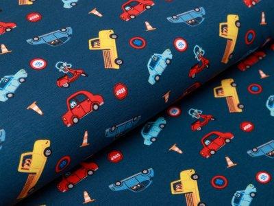 Webware Popeline Baumwolle - verschiedene Autos - petrol