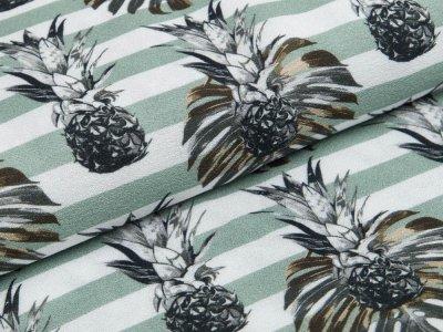Webware Viskose Swafing Palina - Ananas und Streifen - dunkles mint
