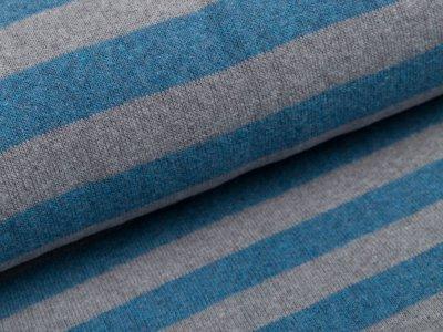 angerauter elastischer Strickstoff Swafing Lenn - Streifen - rauchblau/grau
