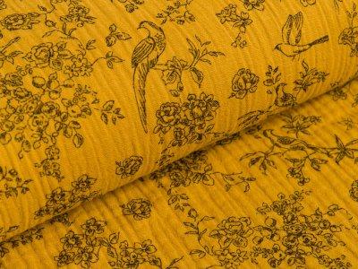 Musselin Baumwolle Double Gauze - Blumenranken und Vögel - senfgelb