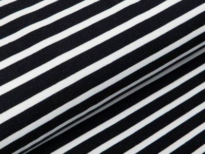 Sweat French Terry - Streifen - weiß/schwarz