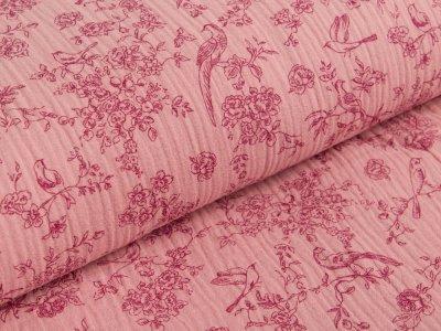 Musselin Baumwolle Double Gauze - Blumenranken und Vögel - rosé / rot