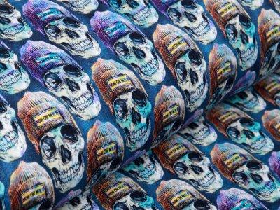 Sweat French Terry Digitaldruck Stenzo - Hippster Skulls - jeansblau