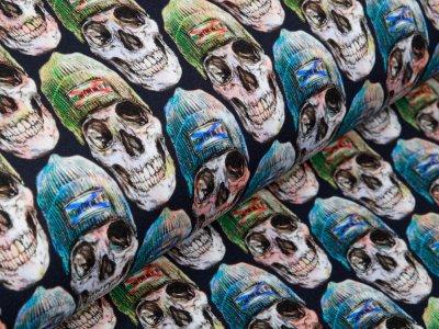 Sweat French Terry Digitaldruck Stenzo - Hippster Skulls - nachtblau