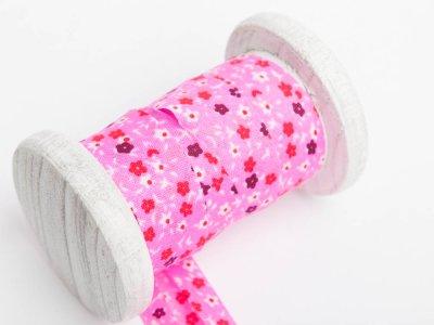 Schrägband Baumwolle 3m Stück, gefalzt 20mm  breit, Blumen pink