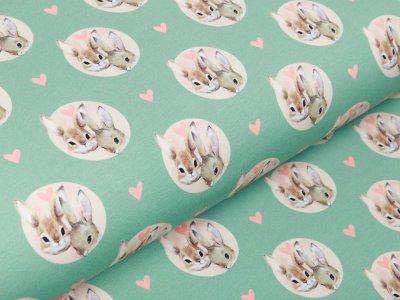 Jersey Digitaldruck Stenzo - Rabbits in Love - süße Häschen-Gesichter und Herzen - mint