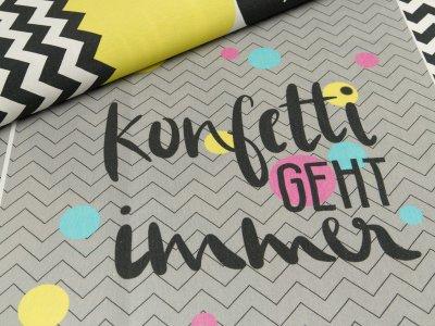 Taschenstoff cut and sew by Lenipepunkt PANEL ca. 85 x 140 cm - Taschen Set Chevron  - grau/schwarz/gelb