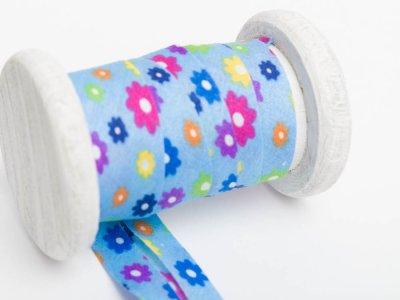 Schrägband Baumwolle 3m Stück, gefalzt 20mm  breit, Blumen blau