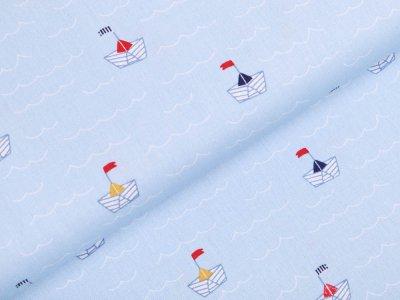 Webware Baumwolle Popeline - Maritime Papierboote - helles blau