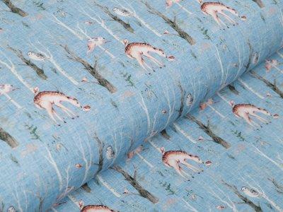 Jersey Digitaldruck Stenzo - Rehe und Eulen auf Kratzoptik - blau