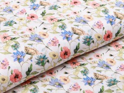 Webware Viskose Marlene - Blumen und Schmetterlinge - weiß