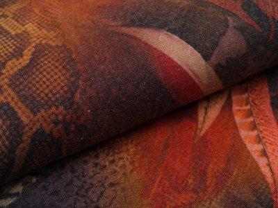 Jersey Viskose Swafing Saskia - Animalprint und Federn - terracotta