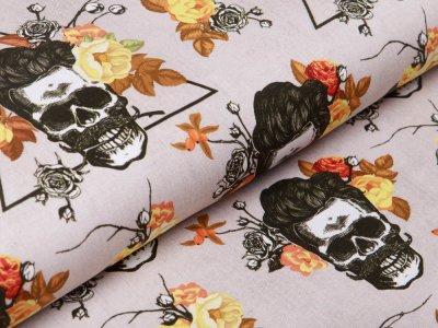 Jersey Digitaldruck in Jeansoptik - Skulls und Rosen - schlamm
