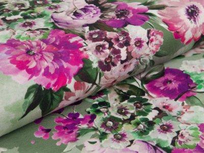 Blumen pink grün Jersey