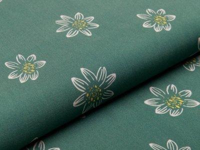 Webware Viskose Henrik - Blüten - dunkles altgrün