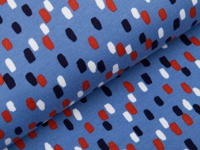 Angerauter Sweat Softtouch - Pinselstriche - jeansblau