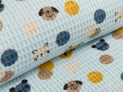 Waffelpiqué Baumwolle - Konfetti mit Tiergesichter - pastellblau