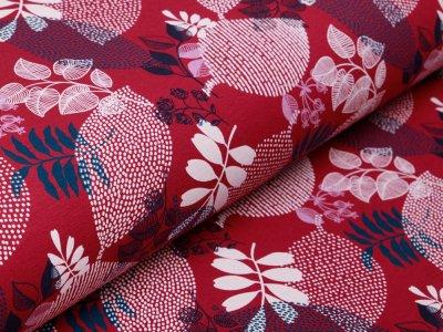 Angerauter Sweat Organic Cotton - gemusterte Blätter - bordeaux