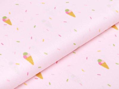 Webware Baumwolle Popeline mit Glitzer - Eistüten - rosa