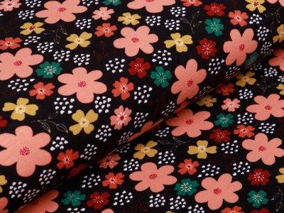 Jersey - Blumen - schwarz