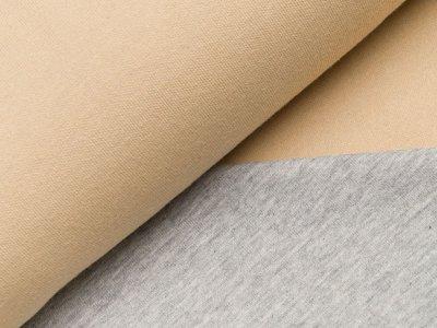 Jersey Double Face - beige/meliert grau