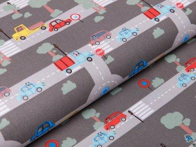 Webware Popeline Baumwolle - Autos und Straßen - grau