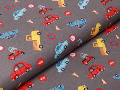 Webware Popeline Baumwolle - verschiedene Autos - grau