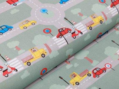 Webware Popeline Baumwolle - Autos und Straßen - altmint