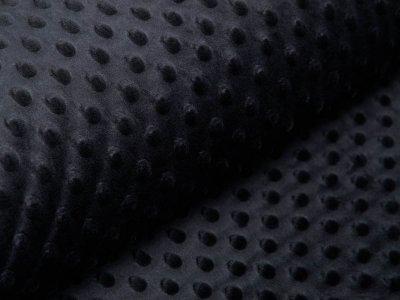 Wellnessfleece Minky mit Noppenprägung - uni schwarz
