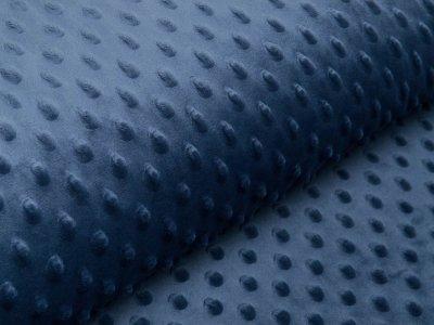 Wellnessfleece Minky mit Noppenprägung - uni jeansblau