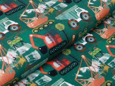 Jersey by Poppy Digitaldruck - verschiedene Baufahrzeuge - flaschengrün