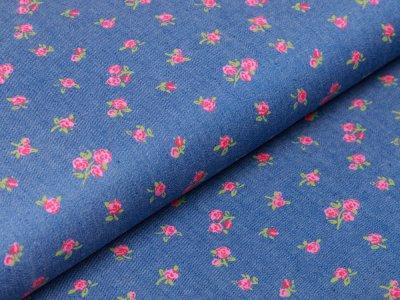 Webware Jeansstoff - kleine Röschen - helles jeansblau