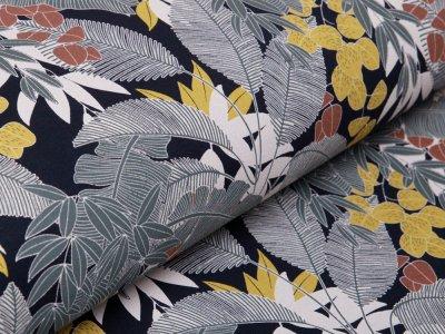 Angerauter Sweat Organic Cotton - verschiedene Blätter - navy