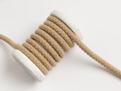 Runde Baumwoll Kordel / Band Hoodie / Kapuze Ø 8 mm beige