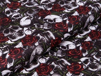 Webware Baumwolle Popeline - Skulls und Rosen - schwarz