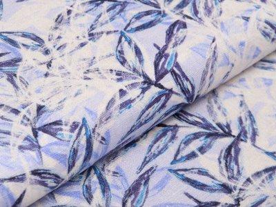 Leinen Dekostoff Swafing Spring - Blätterwedel - wollweiß/blau