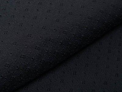 Musselin Baumwolle Double Gauze mit Lochstickerei Broderie - sternförmige Blüten - schwarz
