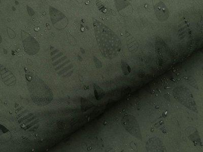 Jackenstoff Magic Softshell - gemusterte Regentropfen - olive