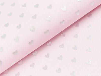 Tüll mit Glitzer - Herzen - rosa