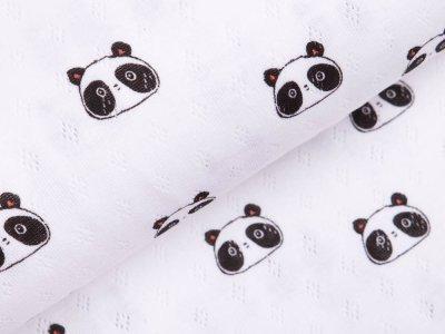 Jersey Baumwolle-Feinstrick - Pointoille Lochmuster - Pandas - weiß